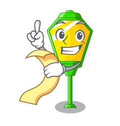 With menu street lamp post in shape cartoon vector