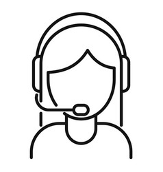 Woman call center icon outline style vector