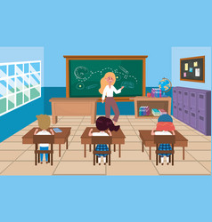 woman teacher with girls and boy students in the vector image