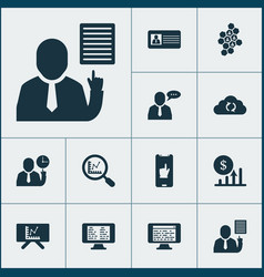Work icons set with analytics board team vector