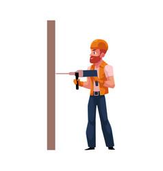 Worker workman builder in helmet overalls and vector