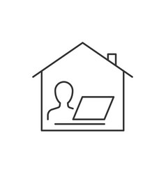 working from home linear icon on white background vector image