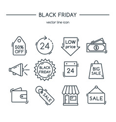 black friday line icons set vector image