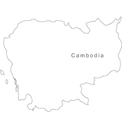 Black White Cambodia Outline Map vector image