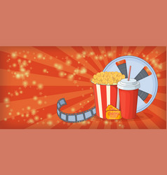 cinema movie horizontal banner corn cartoon style vector image