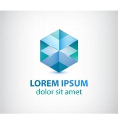 abstract gometric crystal icon logo vector image
