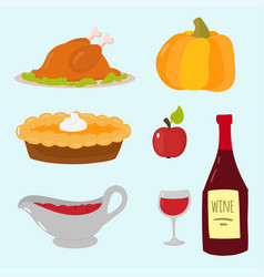 happy thanksgiving day symbols design holiday vector image