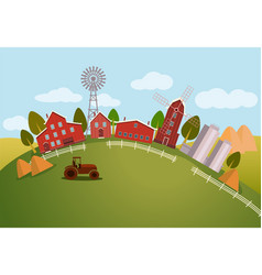 Panorama or scenic view on farm tractor vector