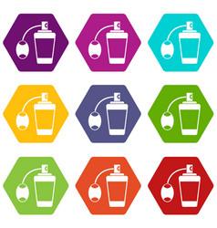 retro perfume icon set color hexahedron vector image