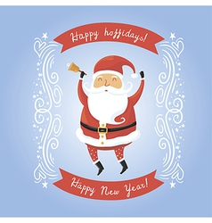 Santa Claus with bell for retro christmas card vector image vector image