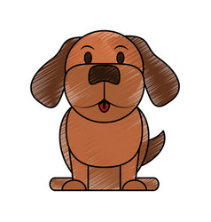 color pencil cartoon front view dog animal sitting vector image