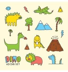 Dino cartoon set vector image vector image