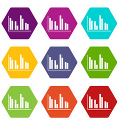 financial analysis chart icon set color hexahedron vector image