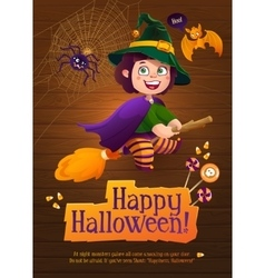 Happy Halloween Witch Girl Flying on Broom vector image vector image