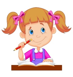 Little girl cartoon studying vector image vector image