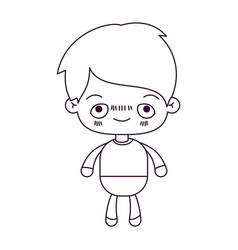 Monochrome silhouette of kawaii little boy with vector