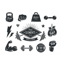 Retro Fitness Elements vector image vector image