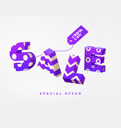 sale 3d sign purple on white vector image