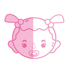 Silhouette baby girl head with pacifier and vector