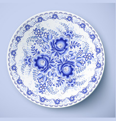 Blue plate with floral ornament in gzhel style vector image vector image