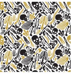 human skeleton halloween black golden vector image