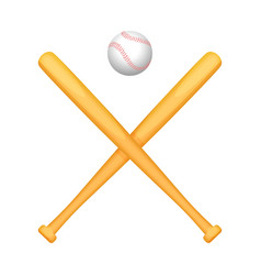 two crossed baseball bats with small white ball vector image vector image