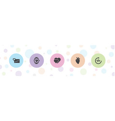 5 heartbeat icons vector