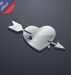 Arrow heart icon symbol 3D style Trendy modern vector image