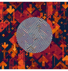Arrows Chaotic Abstract Background with Circle vector