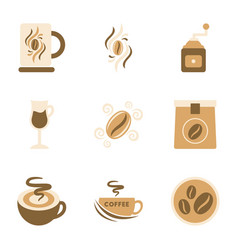 Assembly flat icons coffee vector