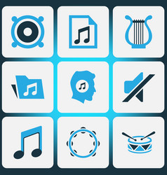 Audio colored icons set collection of playlist vector