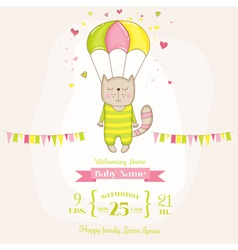 Baby girl cat flying with a parachute shower vector