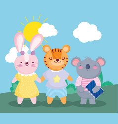 Back to school koala with book and tiger rabbit vector
