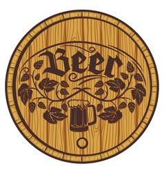 Barrel of beer wooden barrel for beer vector