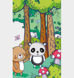 bears in the forest doodles cartoons vector image