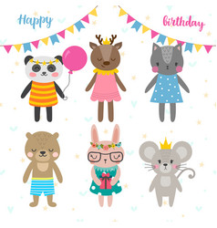 Birthday greeting card with funny cartoon animals vector