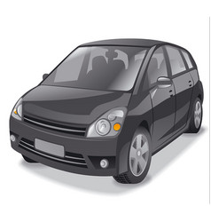 Black hatchback car vector