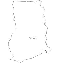Black White Ghana Outline Map vector image