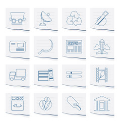 Business and industry icons on a piece of paper vector