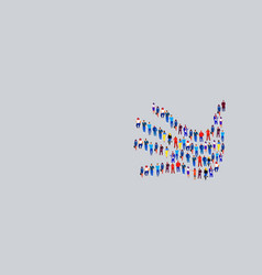businesspeople crowd gathering in shape palm vector image