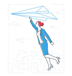 Businesswoman flying on a paper plane - line vector