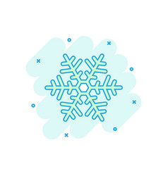 cartoon colored snowflake icon in comic style vector image