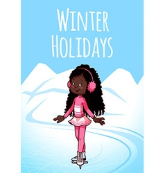 Cheerful African American girl posing on skates vector