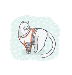 Christmas cat in embroidery sweater clipart hand vector