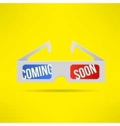 cinema 3d glasses with coming soon text vector image