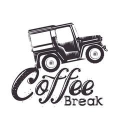 coffee break label with car vector image