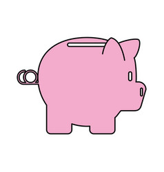 Color contour cartoon side view pink piggy bank vector
