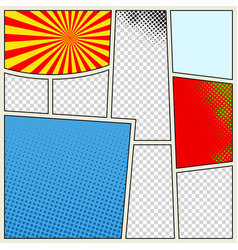 Comics book background in different colors blank vector