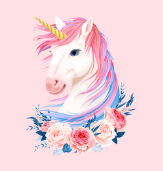 Cute unicorn with gold horn vector