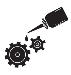 Cutout silhouette oiler with dripping drop oil vector